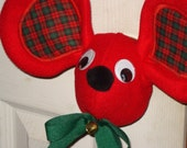 Red Mouse Door Knob Cover with Plaid Ear Insert Christmas Decoration