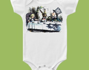 Alice in Wonderland, Tea Party,Mad Hatter,Baby clothes, Baby Shower One Piece Baby, Tank or T-Shirt by ChiTownBoutique.etsy