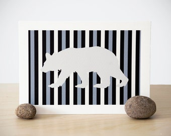 stripey bear silhouette print (custom color)