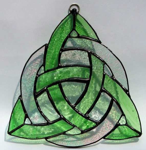 Trinity Knot Celtic Stained Glass by HillLillyDesigns on Etsy