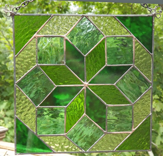 Stained Glass Panel Quilt Suncatcher Green
