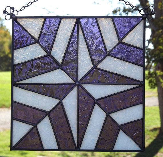 Stained Glass Window Suncatcher Panel Quilt Block Purple and White  Riviera Pattern