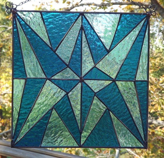 Stained Glass Panel Quilt Block   Mariners' Mystery   Teal and Aqua  10 Inch