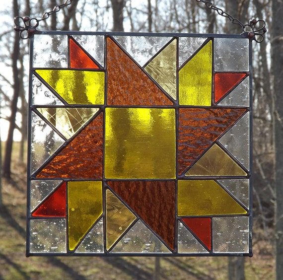 Stained Glass Suncatcher Panel Sunflower Quilt Square  Yellow Orange