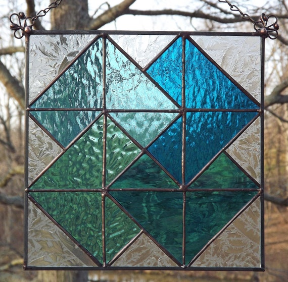 Stained glass window panel suncatcher quilt block card trick for Window pane quilt design