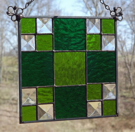 Stained Glass Panel Suncatcher Quilt Block Green Thrifty