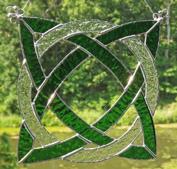 Celtic Knot Stained Glass Suncatcher Panel Kelly Green