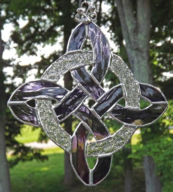 Stained Glass Celtic Knot Suncatcher  Protection Knot   Purple