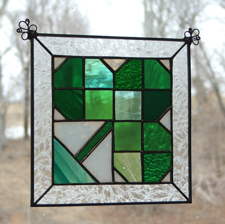 Stained Glass Irish Shamrock Quilt Block Panel-Green