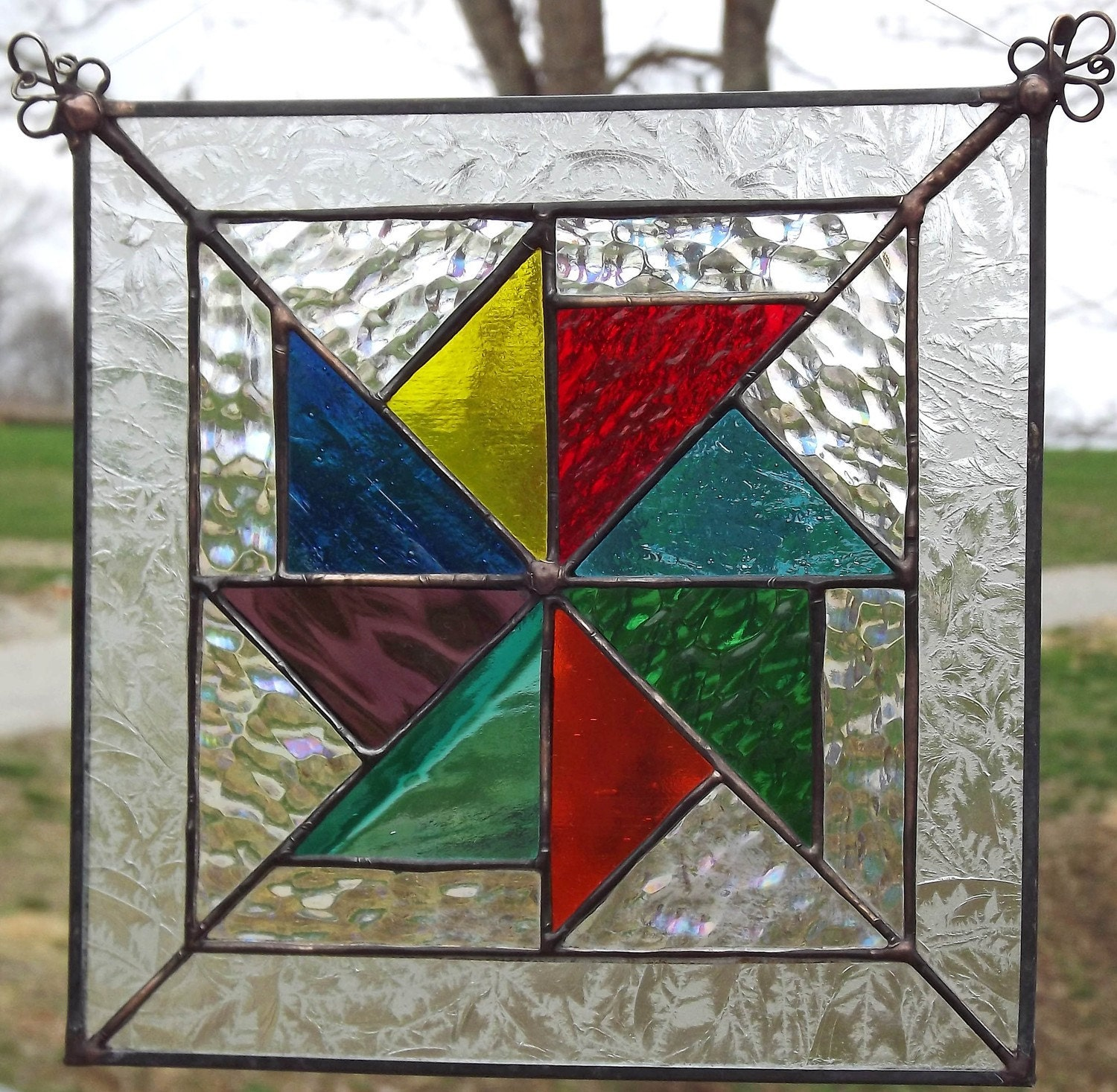 Flying kites stained glass quilt block panel rainbow for Window pane quilt design