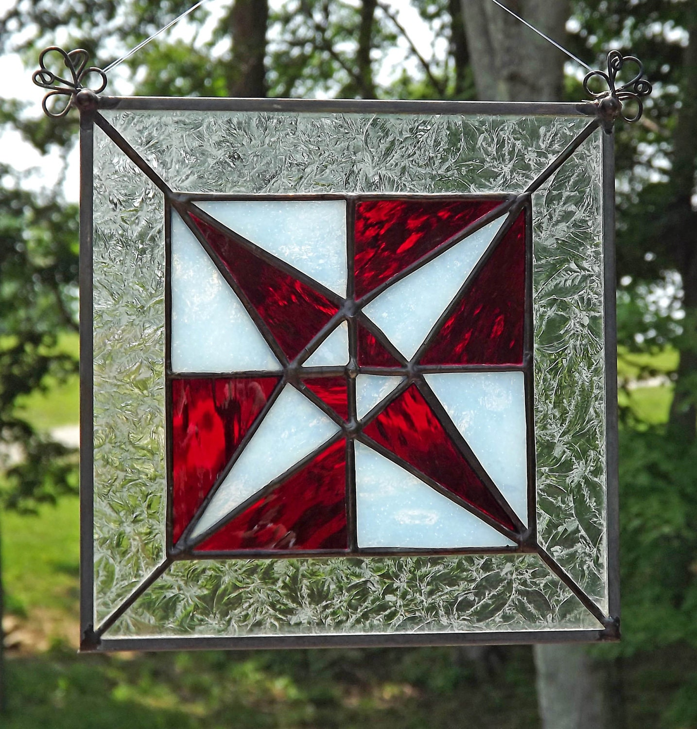Stained glass suncatcher quilt block panel dragonfly red for Window pane quilt design