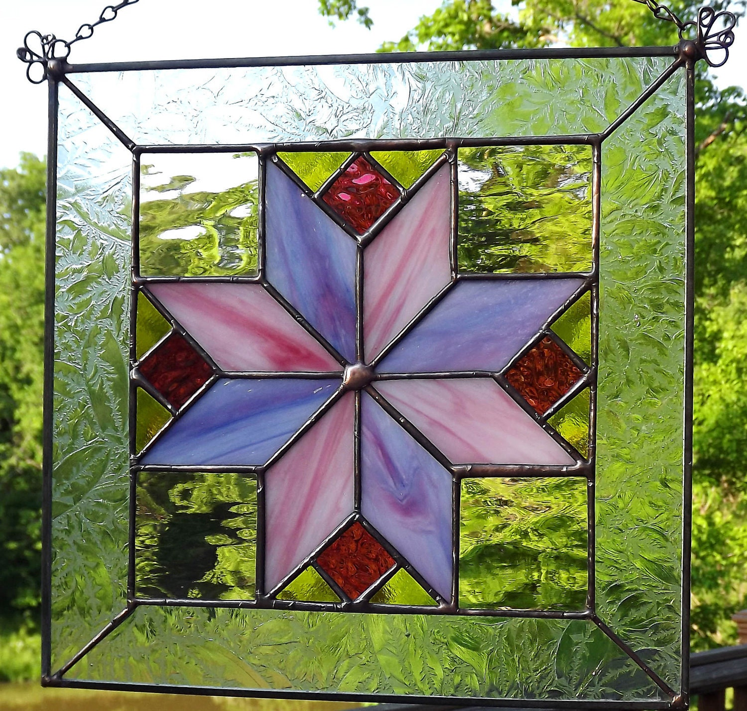 Stained Glass Panel Quilt Block Diamond Star Pink 10 Inch