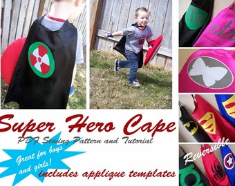 Children's Super Hero Cape Sewing Pattern: Printable PDF Pattern