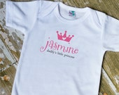 LITTLE PRINCESS ONESIE or Lap T-shirt name with crown and tag line - customize as needed