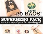 SUPERHERO COMBO PACK - 20 - 3.5x5 favor bags - hulk - avengers - superman - batman - captain america - spiderman - iron man