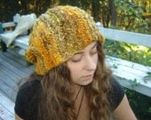 Slouch Hat - Hand knit from hand spun slouchy hat - Mean Mr. Mustard. - theKnitChix