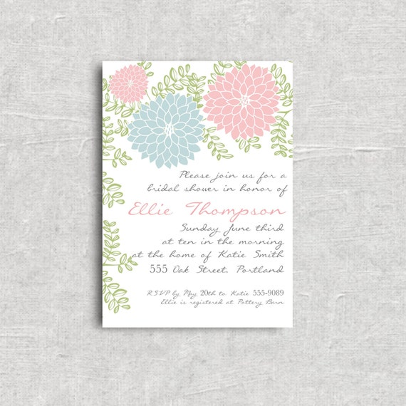 Pretty Floral Bridal or Baby Shower Invitation - Choose your Colors - Printable Digital File.