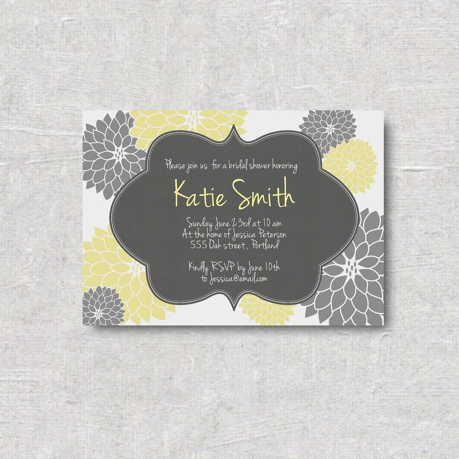 modern grey yellow floral baby shower by adorepaperdesign
