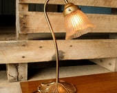 RESERVED for Clare -- Art Nouveau Lily Pad Lamp Gold Metal
