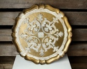 Vintage Gold Gilt Wood Tray