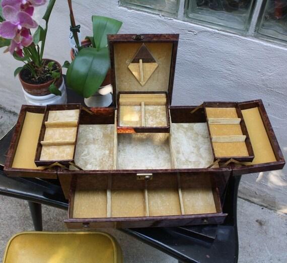 Large Mid Century Vinyl Jewelry Box