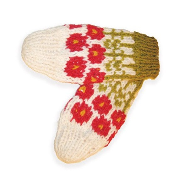 White Knitted Mitten with Flower Motif
