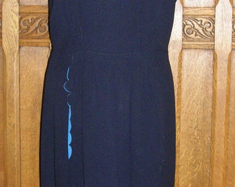 Early 1940's  Black with periwinkle blue crepe silk