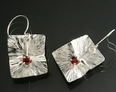 Hammered Sterling Rectangle Dangle Earrings with Red Garnet Prong set Stones in Center