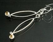 White Topaz and Yellow Citrine Gemstones in Elliptical Shaped Dangle Earrings