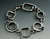 Big Chunky Bracelet Rustic Links of Handmade One of a Kind Shapes Blackened