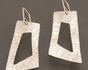 Handmade Sterling Silver Textured and Torqued Rectangle Earrings