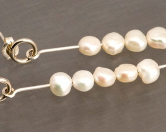 Handmade Sterling Silver Freshwater Pearl Dangle Earrings