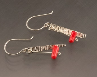 Handmade Sterling Silver Textured Dangle Earrings with Red Coral Beads