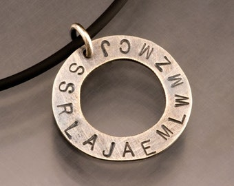 Handmade Sterling Silver Big Circle Personalized Pendant