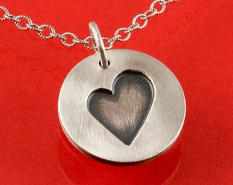 Heart in Circle Sterling Silver Pendant