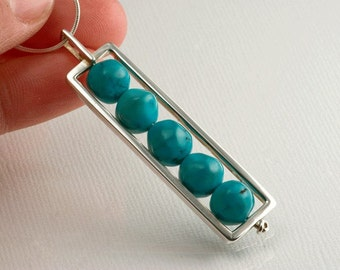 Sterling Silver & Turquoise Bead Rectangle Pendant
