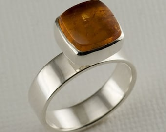 OOAK Imperial Topaz on Sterling Silver Band