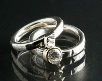 Sterling Silver Wedding Ring Set with White Topaz, Everyday Silver ring, Diamond like Ring, Diamond Alternative Engagement Ring