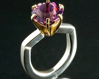 Limited Edition Big Amethyst Gemstone in a Sterling and 14 karat gold Ring, Size 6 1/2
