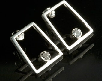 Sterling Silver Trapezoid Earrings with White Topaz