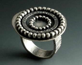 Sterling Silver Big Circle Ring Blackened and Textured