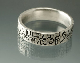 Sterling Silver Stamped Ring Comfort Fit Random Pattern