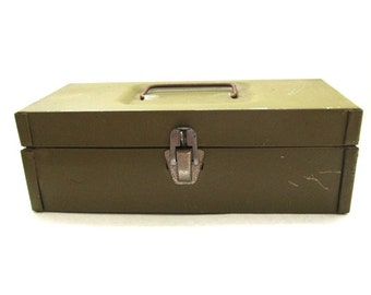 Olive Green Tin Box with Handle