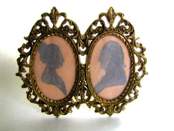 Vintage Golden Double Oval Frame with Easel Stand