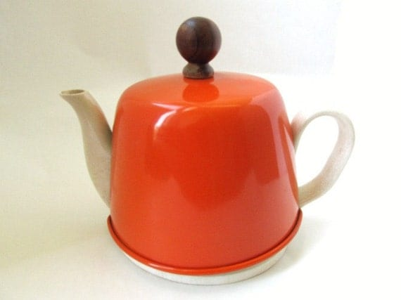 Vintage Tea Pot with Orange Warming Cover Cozy