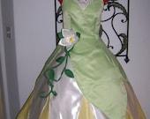 Princess Frog Tiana Green swamp  Gown Dress ADULT Custom size