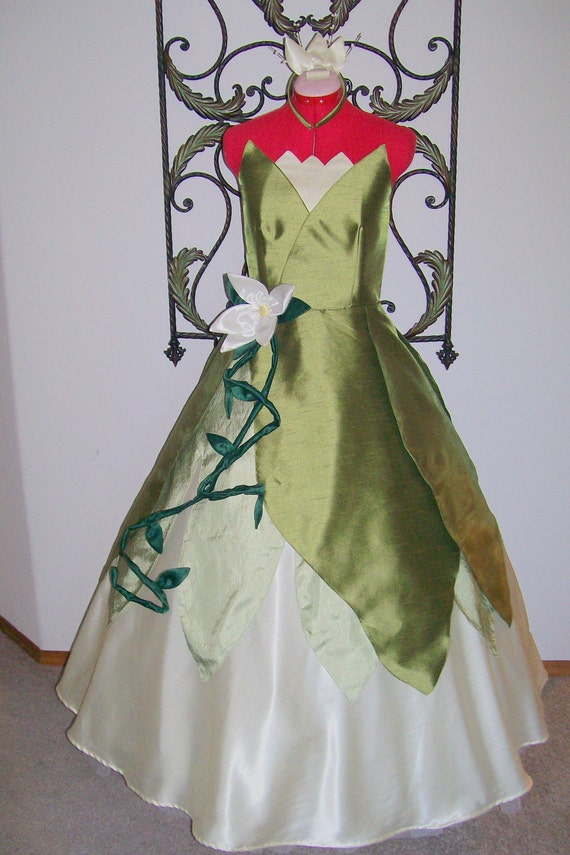 Princess Frog Tiana Green swamp  Gown Dress ADULT Custom size