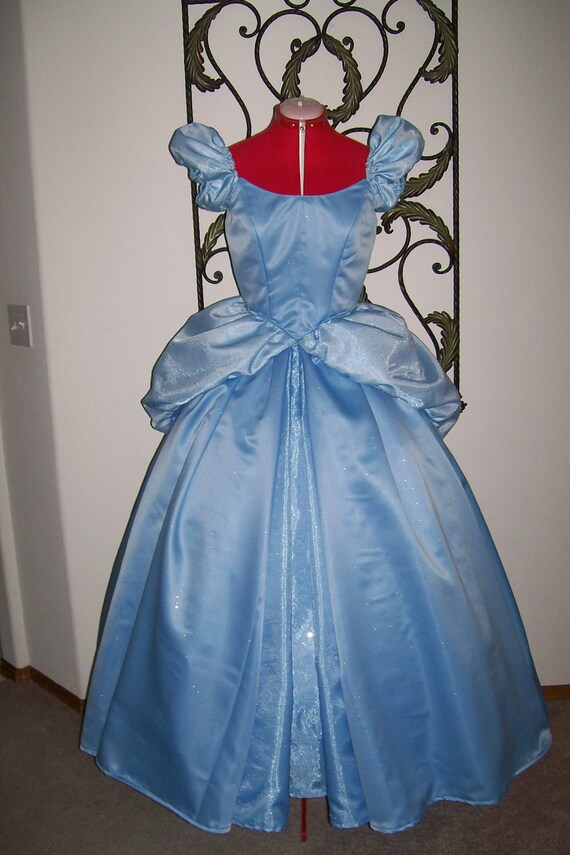 Blue Sparkle Satin Custom Cinderella Ball gown Dress ADULT