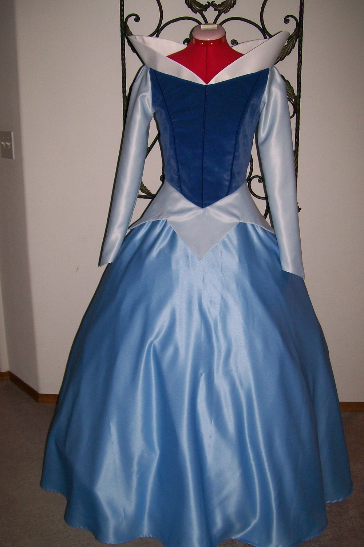 BLUE Velvet Sleeping Beauty Princess Aurora Gown Custom Adult