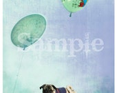 The Pug and the Balloon 5x7 Original Signed Fine Art Print